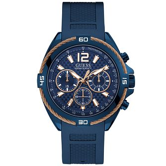 Gues Men's Blue with Rose Gold Wire Detail Watch - Product number 9656650