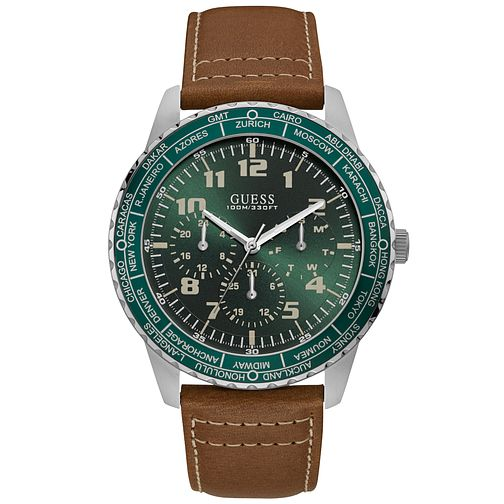 Guess Men's Green Dial Leather Strap Silver Watch - Product number 9656669