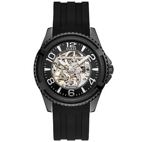 Guess Men's Black Silicone Strap Automatic Watch - Product number 9656960