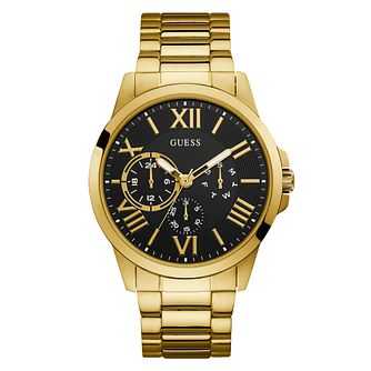 Guess Gold Tone Stainless Steel Black Dial Watch - Product number 9656995