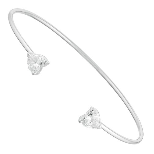Sterling Silver Cubic Zirconia Heart Bangle - Product number 9659102