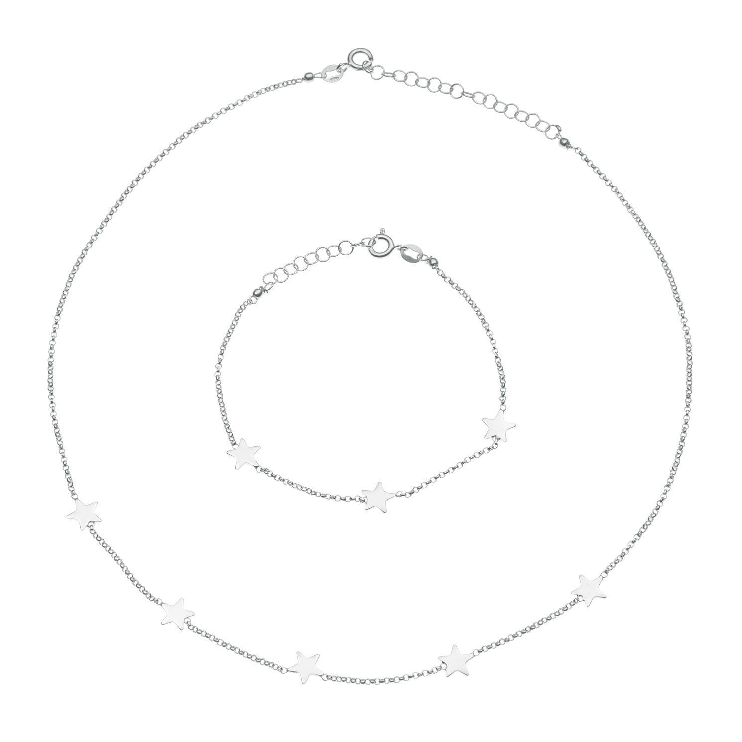 Sterling Silver Star Bracelet & Necklace Set - Product number 9659110