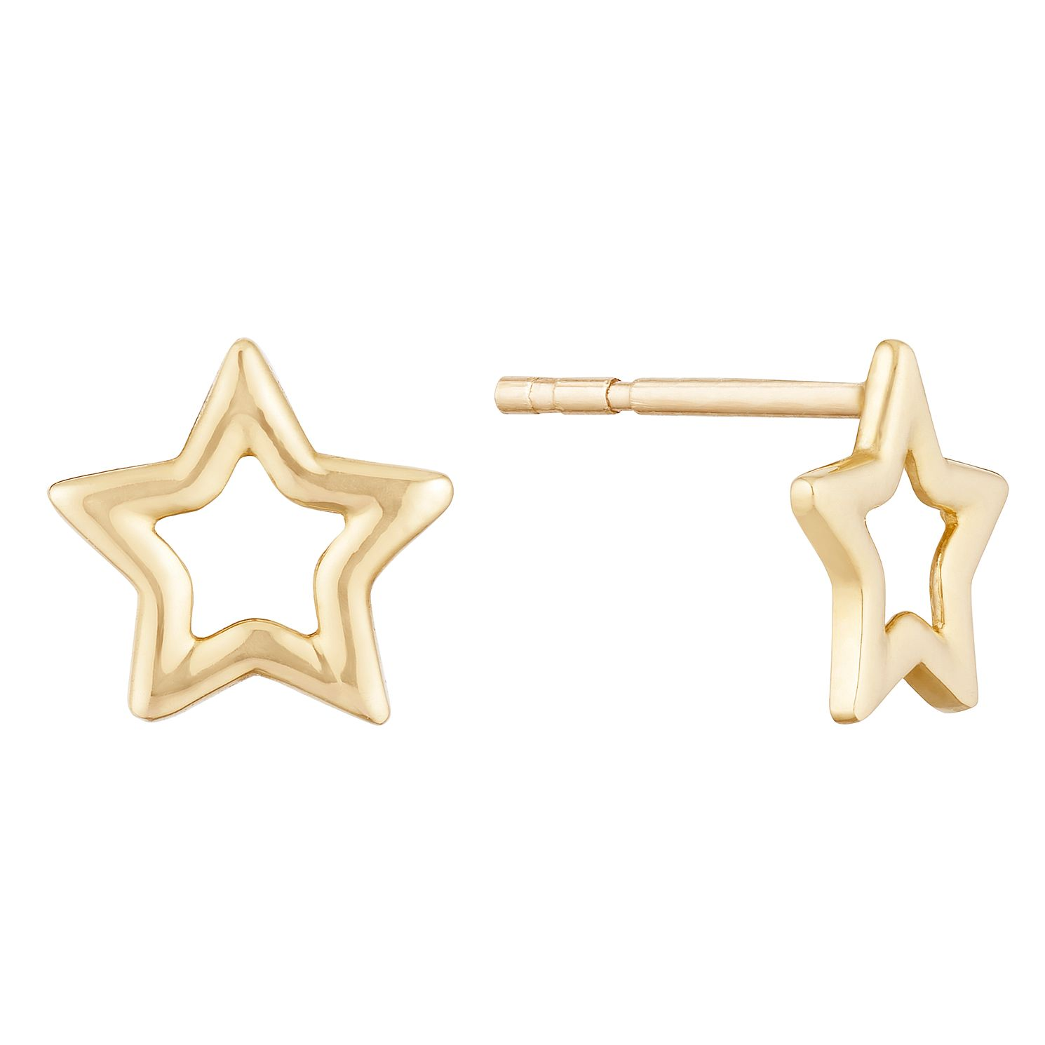 9ct Yellow Gold Open Star Stud Earrings - Product number 9659889