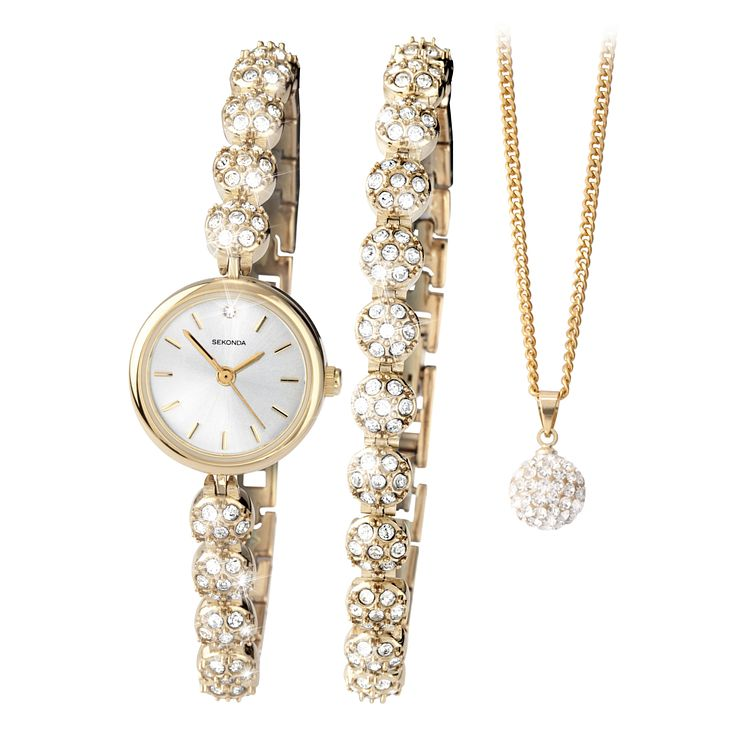 Sekonda La s Watch Bracelet & Necklace Set