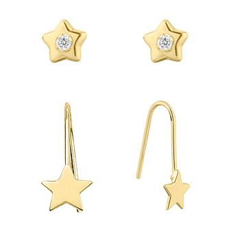 9ct Yellow Gold Cubic Zirconia Star Stud & Drop Earrings Set - Product number 9660747