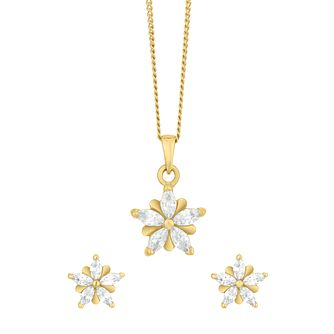 Gold Plated Silver Cubic Zirconia Earrings & Pendant Set - Product number 9660801