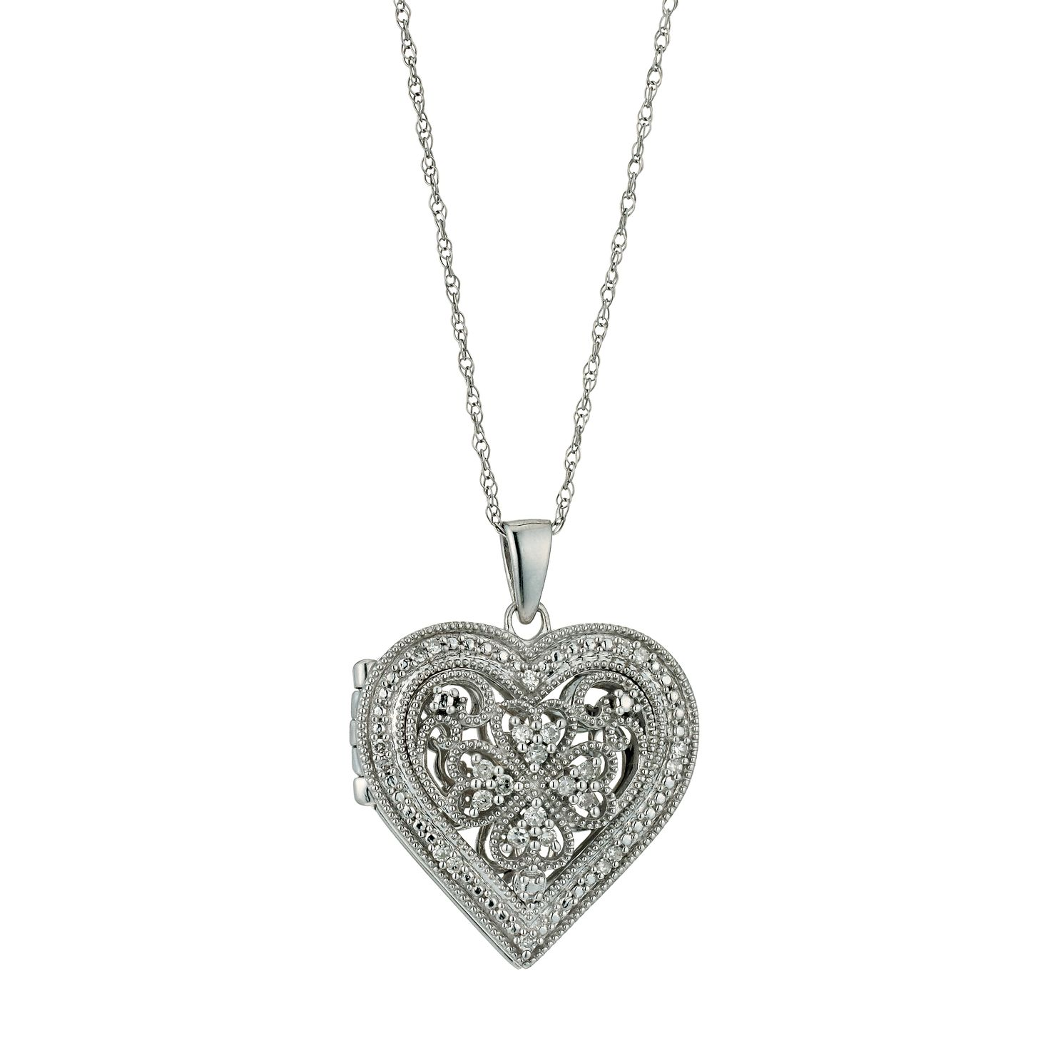 Sterling Silver Vintage 0.15ct Diamond Heart Locket - Product number 9661328