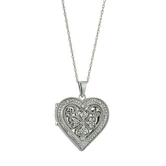 Sterling Silver Vintage Diamond Heart Locket - Product number 9661328
