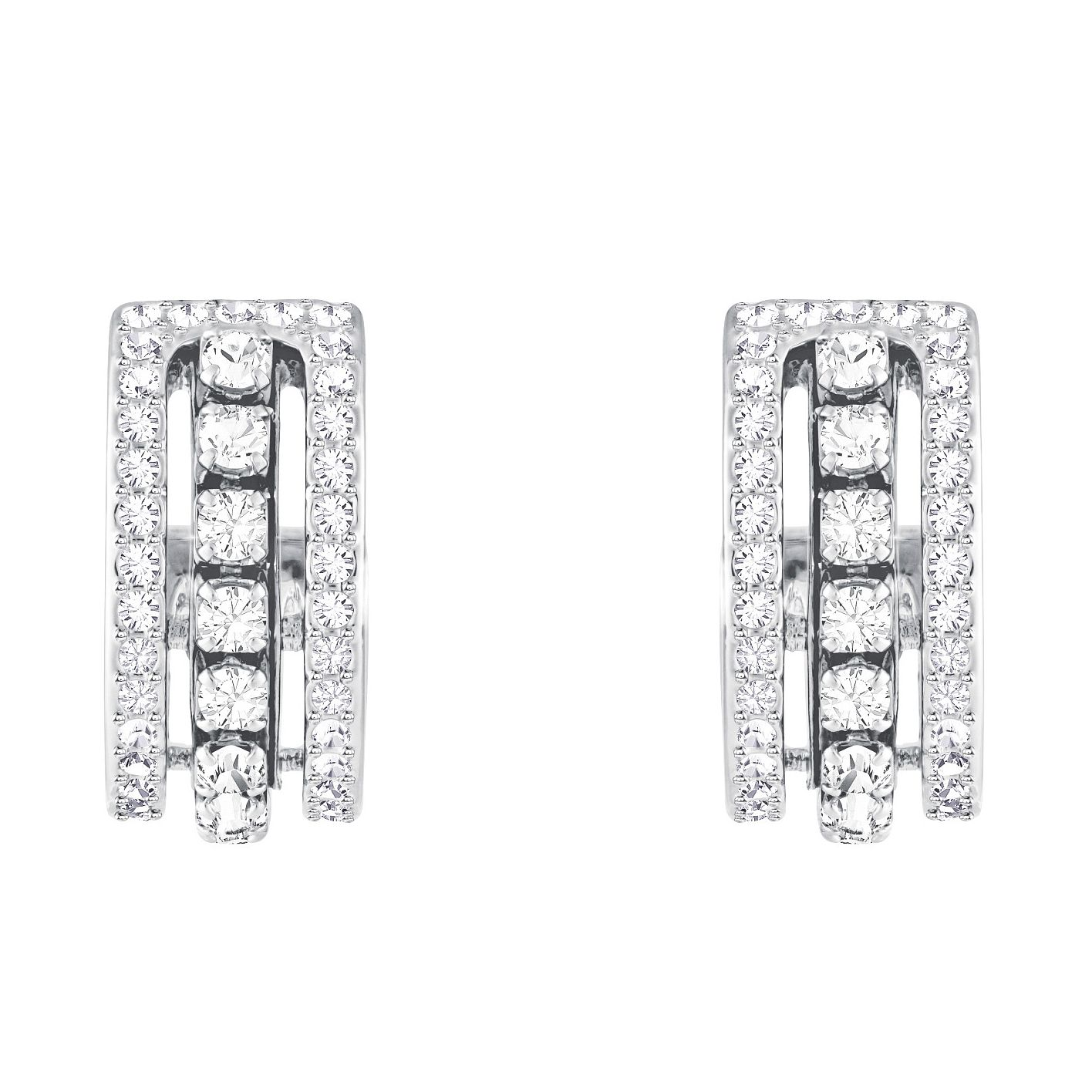 Swarvoski Rhodium Plated Crystal Hoop Earrings - Product number 9662375