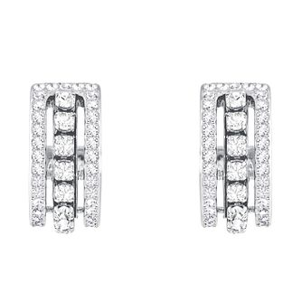 Swarvoski Ladies' Rhodium Further Hoop Earrings - Product number 9662375