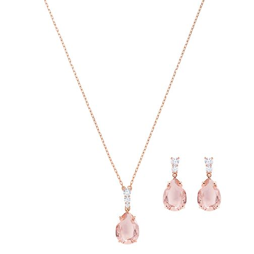 Swarvoski Ladies' Rhodium Pink Earring & Pendant Set - Product number 9662499