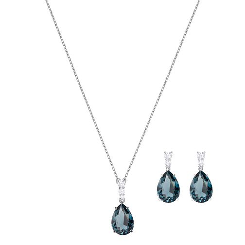 Swarvoski Ladies' Rhodium Blue Earring & Pendant Set - Product number 9662626
