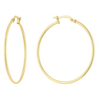 Silver and 9ct Bonded Yellow Gold Creole Hoop Earrings - Product number 9663126