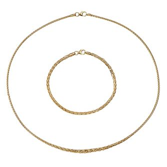 9ct Yellow Gold Spiga Necklace & Bracelet Set - Product number 9663150