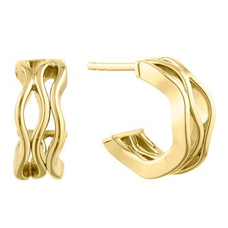 9ct Yellow Gold Wavy Half Hoop Earrings - Product number 9663215
