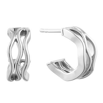 9ct White Gold Wavy Half Hoop Earrings - Product number 9663223