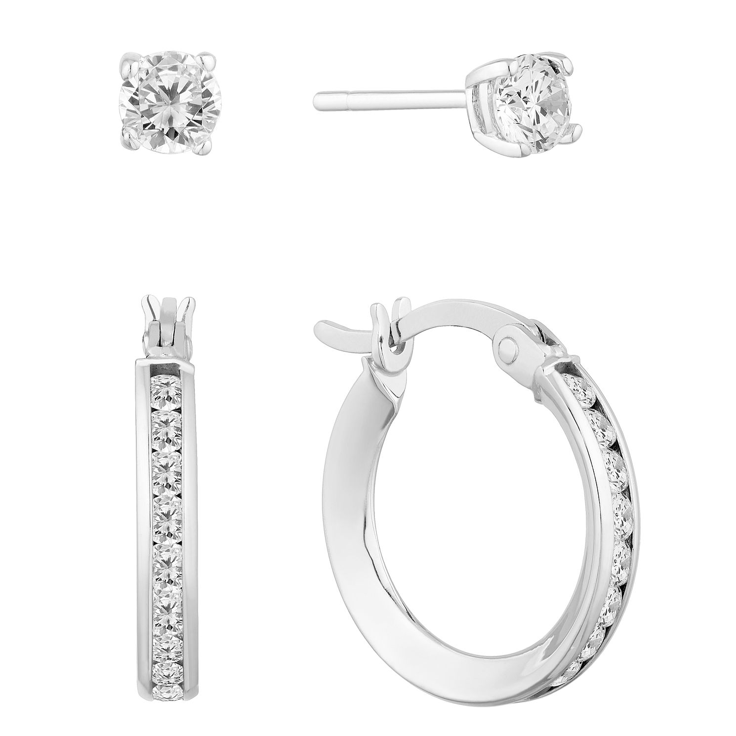 9ct White Gold Cubic Zirconia Hoop & Stud Earrings Set - Product number 9663282