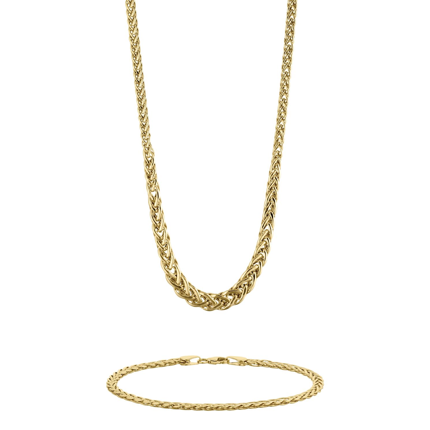 9ct Yellow Gold Chain Necklace & Bracelet Set - Product number 9663290
