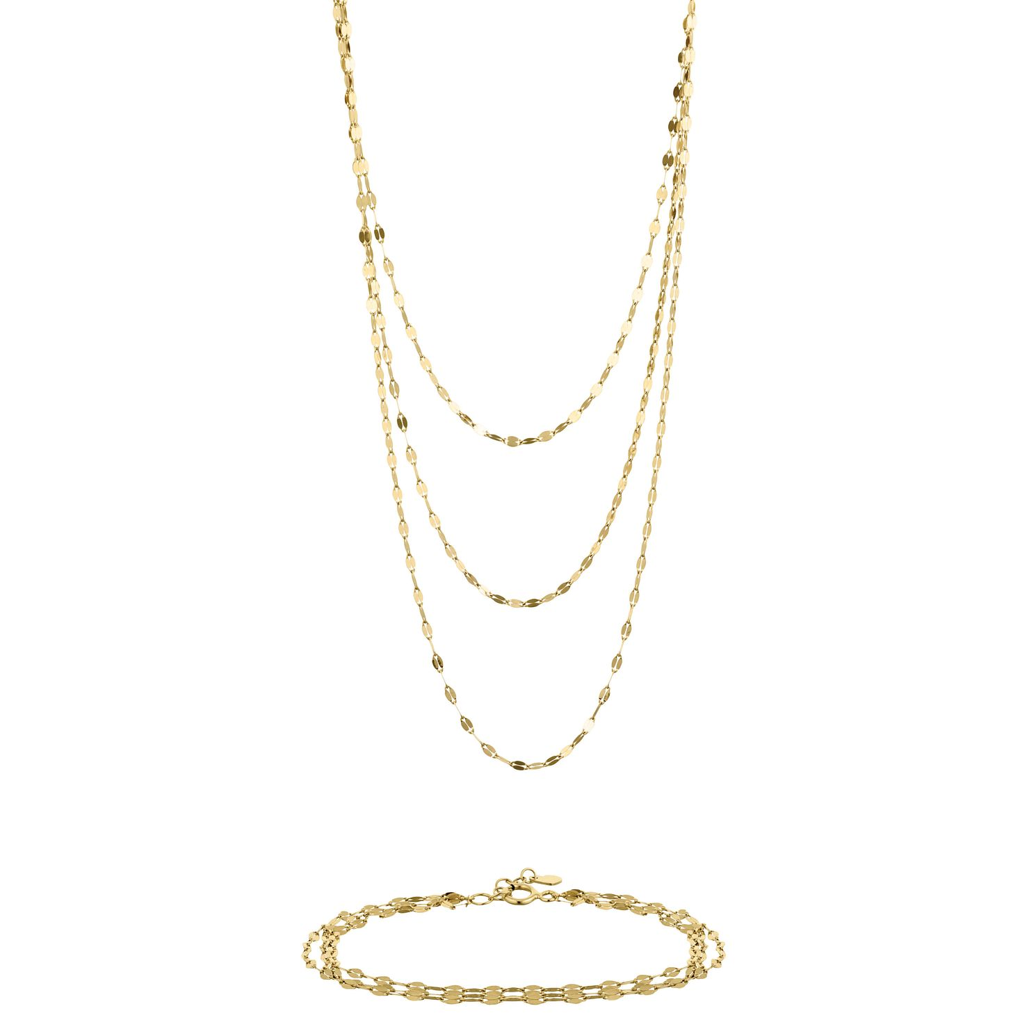 9ct Yellow Gold Draped Necklace & Bracelet Set - Product number 9663304