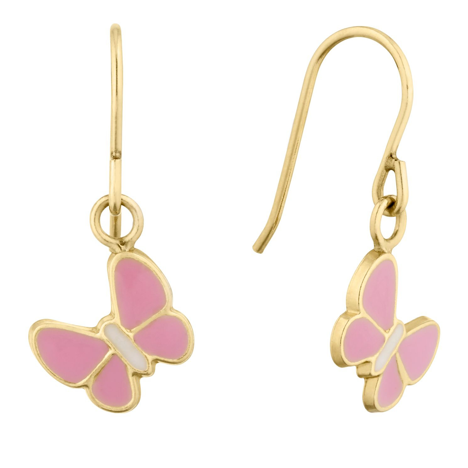 Children's 9ct Yellow Gold Enamel Pink Butterfly Earrings - Product number 9664211