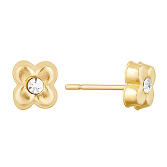 Children's 9ct Yellow Gold Crystal Flower Stud Earrings - Product number 9664432