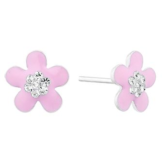 Children's Silver Pink Enamel Crystal Flower Stud Earrings - Product number 9664459