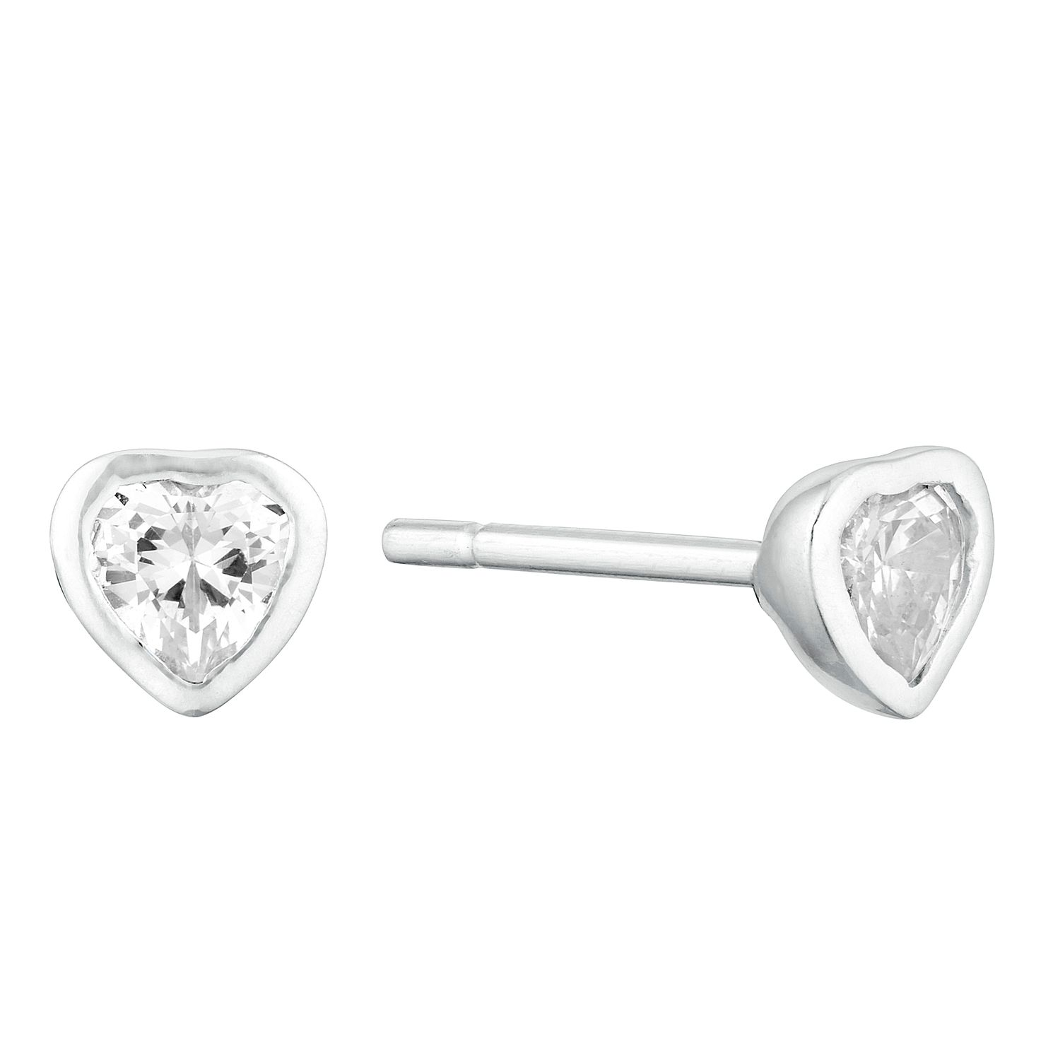 Children's Silver Cubic Zirconia Heart Stud Earrings - Product number 9664467