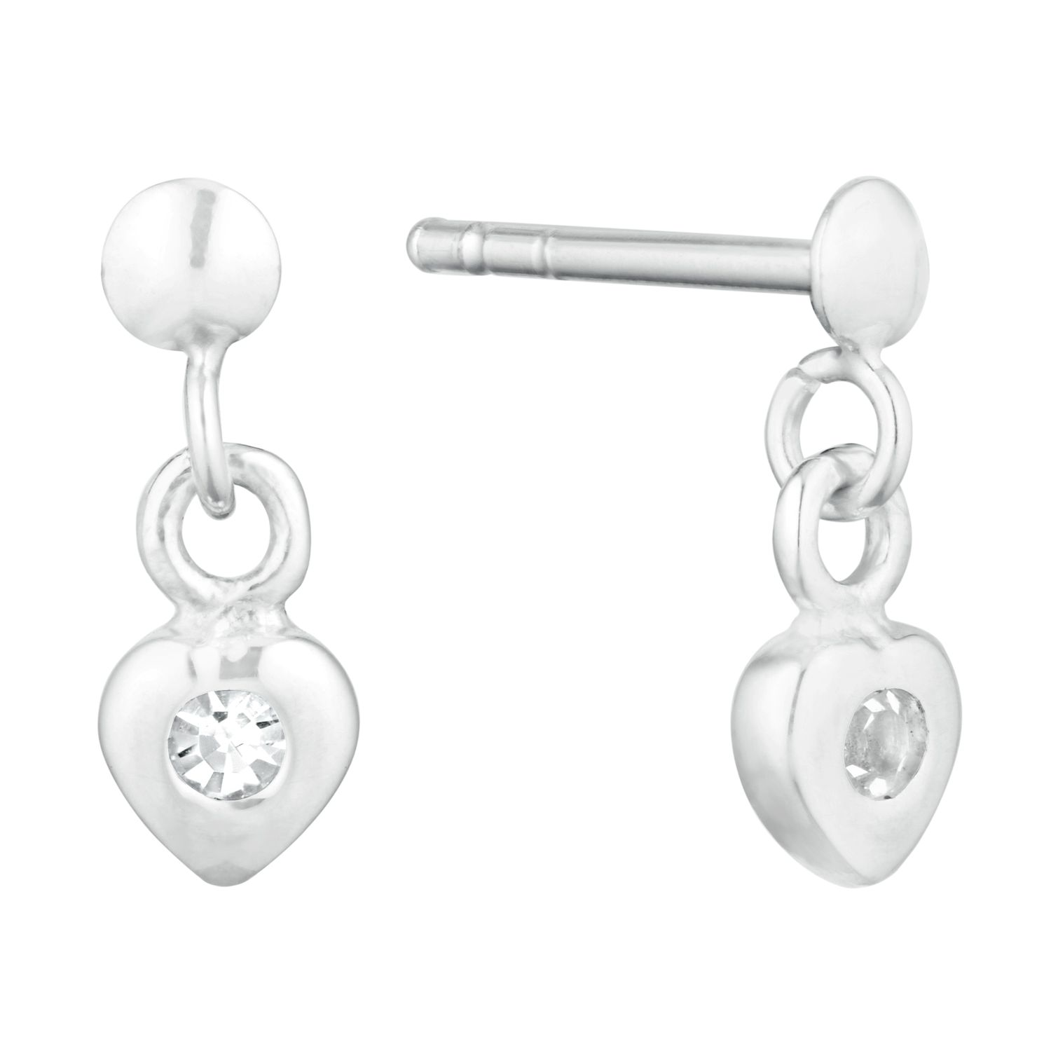 Children's Silver Cubic Zirconia Crystal Heart Drop Earrings - Product number 9664475