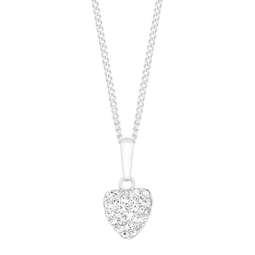Children's Silver 7mm Cubic Zirconia Crystal Heart Pendant - Product number 9664491