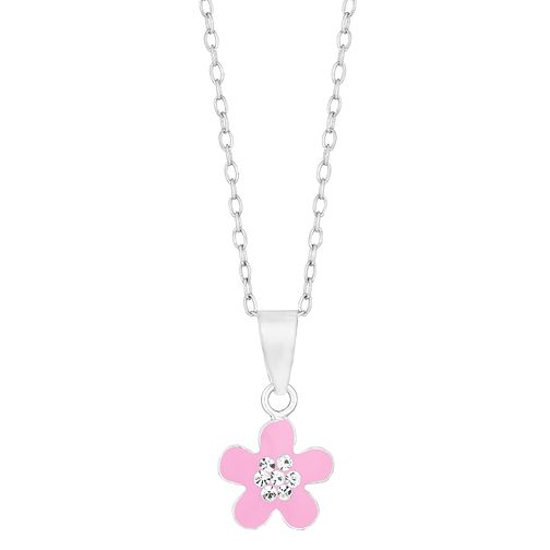 Children's Silver Pink Crystal Flower Pendant - Product number 9664505