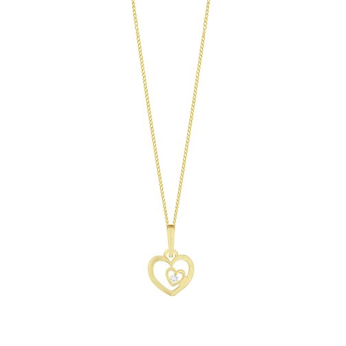 Children's 9ct Gold Cubic Zirconia Double Heart Open Pendant - Product number 9664513