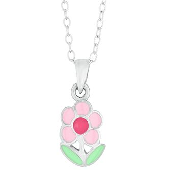 Children's Silver Enamel Flower Stem Pendant - Product number 9664548