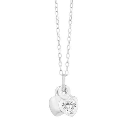 Children's Silver Cubic Zirconia Double Heart Pendant - Product number 9664556