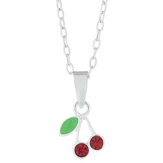Children's Silver Enamel Cherry Pendant - Product number 9664564