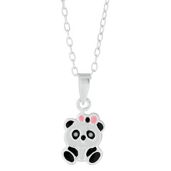 Children's Silver Enamel Panda Pendant - Product number 9664572