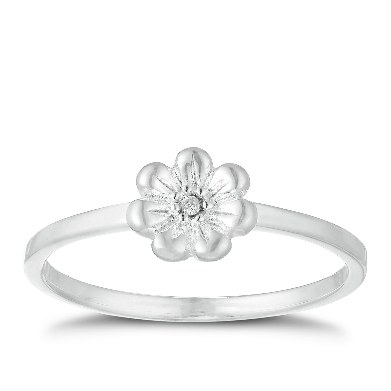 Children's Silver Cubic Zirconia Crystal Flower Ring Size F - Product number 9664599