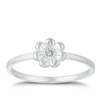 Children's Silver Cubic Zirconia Crystal Flower Ring Size H - Product number 9664696