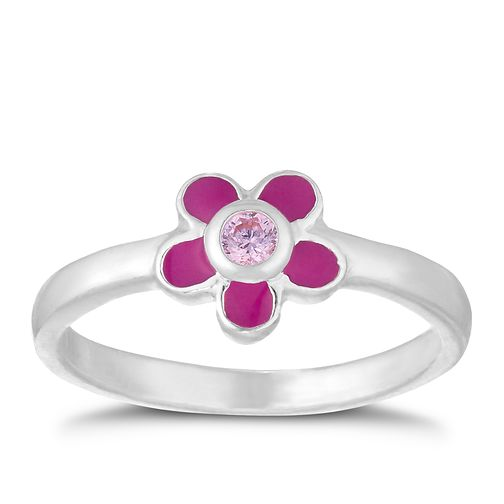 Children's Silver Pink Crystal Enamel Flower Ring Size F - Product number 9665102