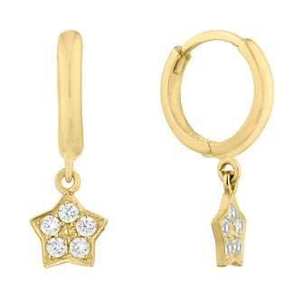 9ct Yellow Gold Cubic Zirconia Star Charm Hoop Earrings - Product number 9665307