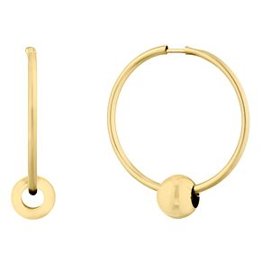 9ct Yellow Gold Hoop with Ball Slider Earrings - Product number 9665331