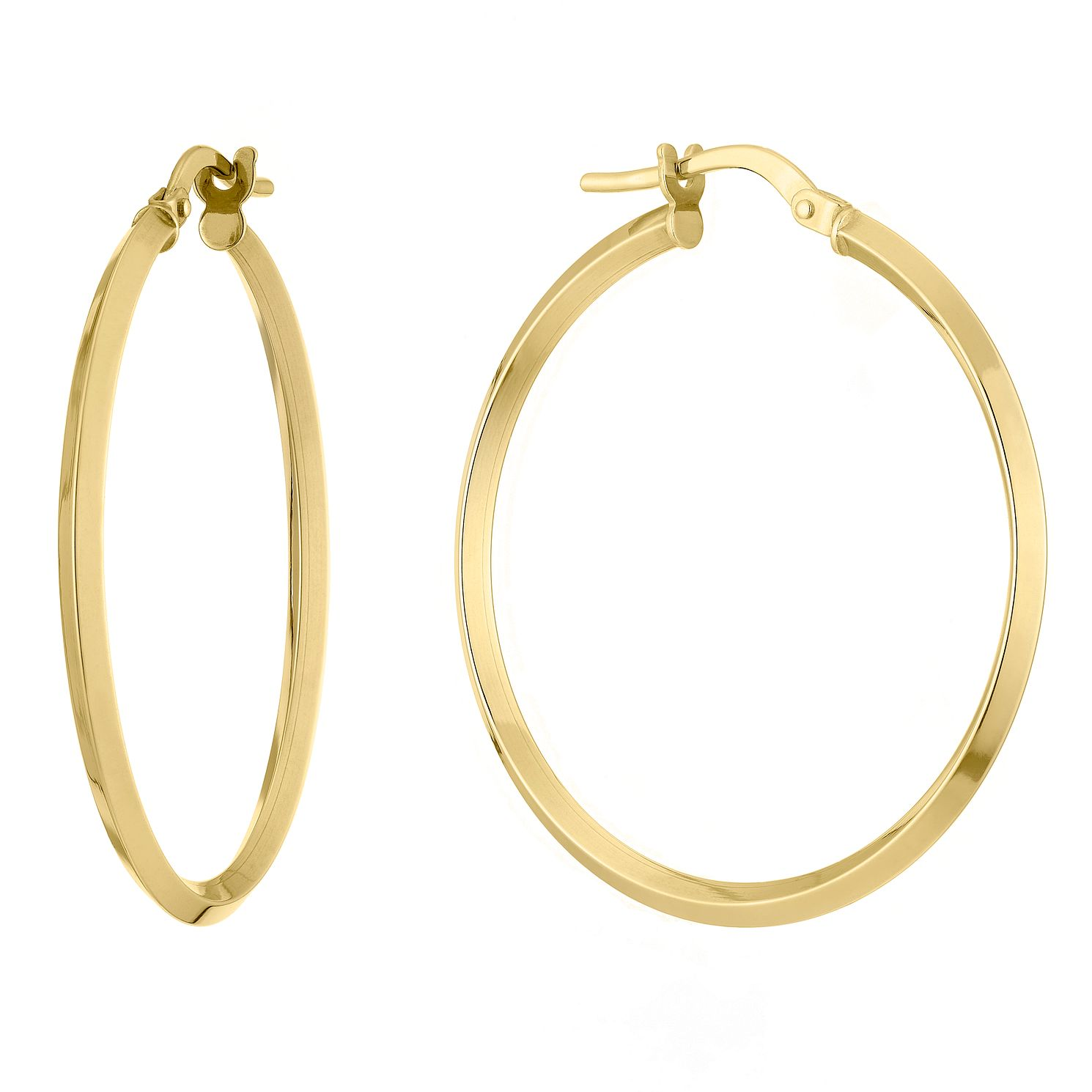 9ct Yellow Gold Bevelled Tube Creole Earrings - Product number 9665358