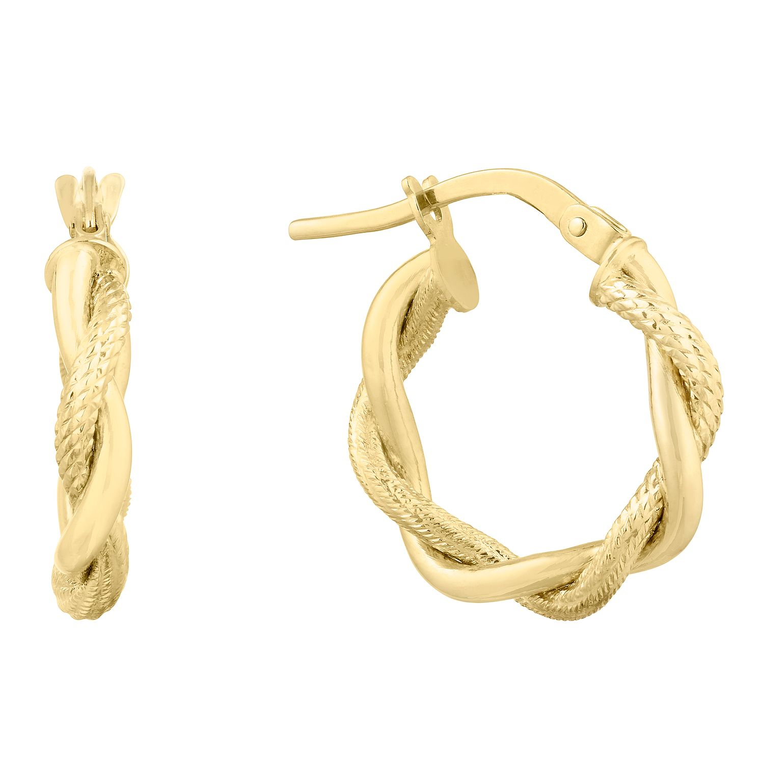 9ct Yellow Gold Entwined Rope Creoles Earrings - Product number 9665374