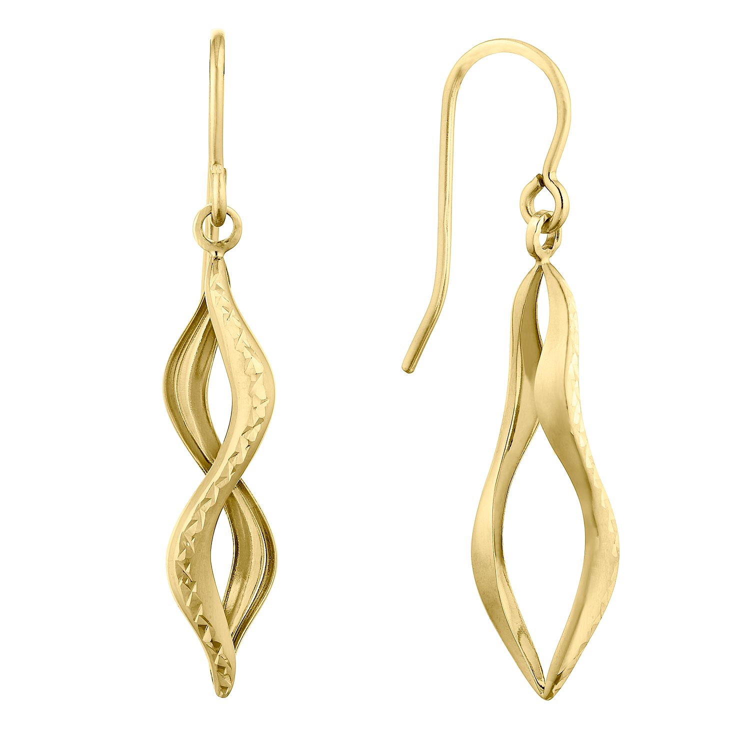9ct Yellow Gold Figure of Eight Drop Earrings - Product number 9665471