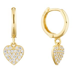 9ct Yellow Gold Cubic Zirconia Heart Charm Hoop Earrings - Product number 9665560
