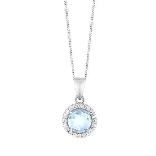9ct White Gold Topaz & Cubic Zirconia Halo Pendant - Product number 9665641