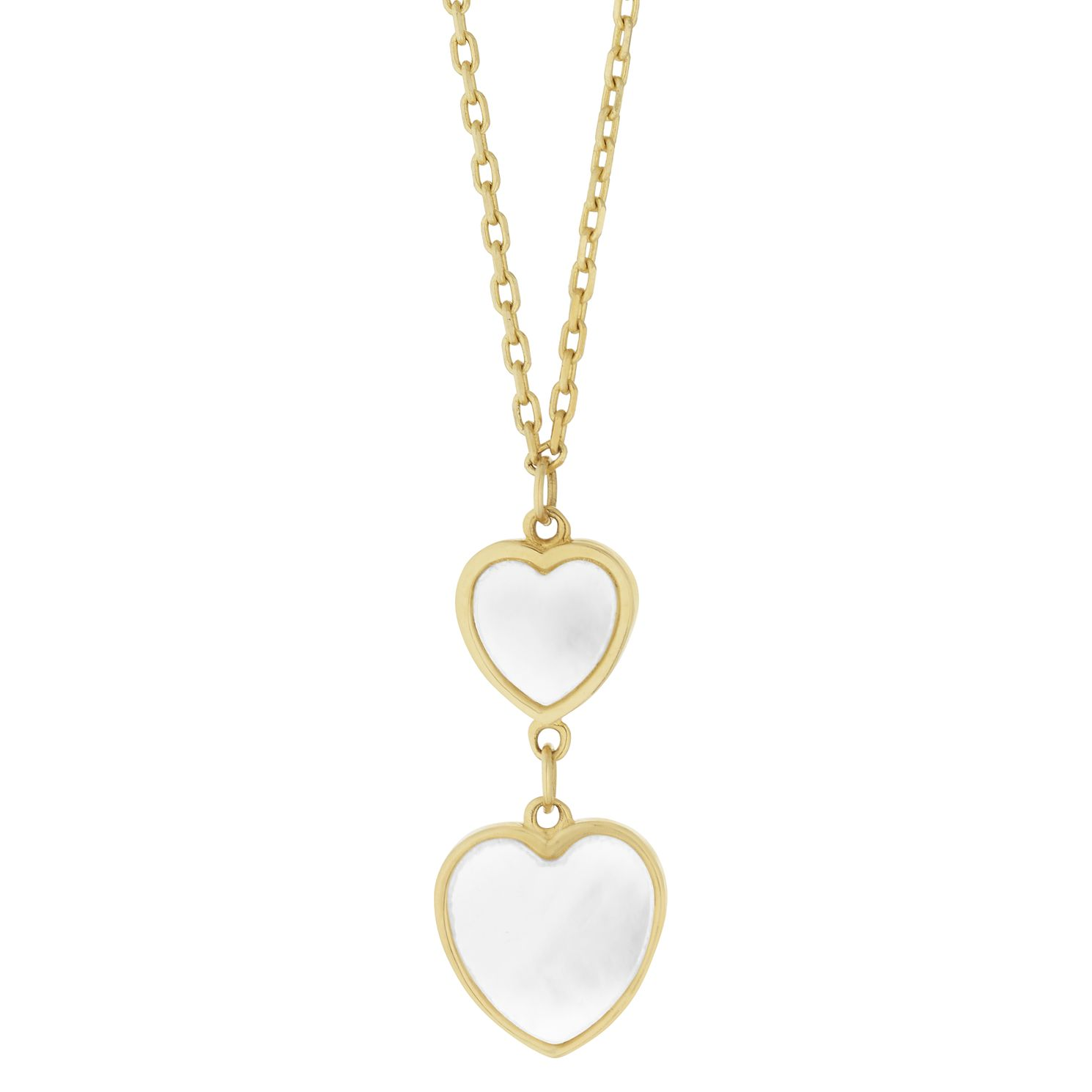 9ct Yellow Gold Mother of Pearl Heart Drop Necklace - Product number 9665684
