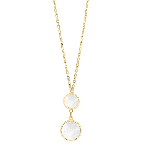 9ct Yellow Gold Mother of Pearl Circle Drop Necklace - Product number 9665706