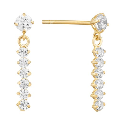 9ct Yellow Gold Cubic Zirconia Bar Drop Earrings - Product number 9665854