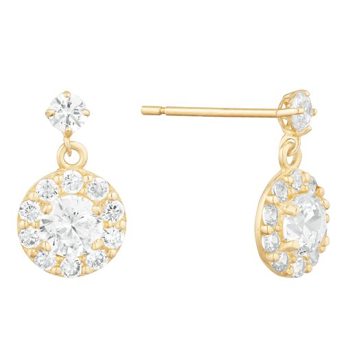 9ct Yellow Gold Cubic Zirconia Halo Drop Earrings - Product number 9665889