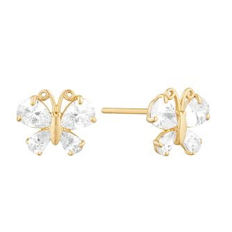 9ct Yellow Gold Cubic Zirconia Butterfly Stud Earrings - Product number 9665897